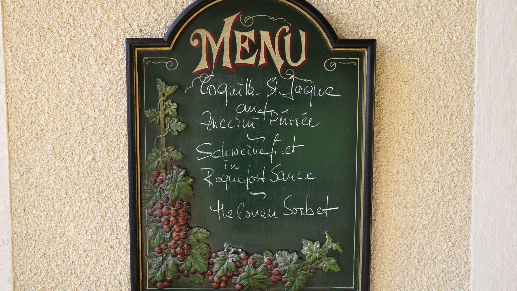 Provence Menukarte